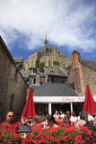 Terrasse am Mont Saint Michel Lizenzfreie Stockbilder