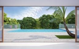Terrasse près de piscine Photographie stock