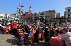 Terrasse in Venedig Stockfoto