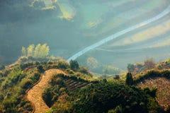 Terrassen am Dorf Lingjiao in der Dämmerung stockbilder