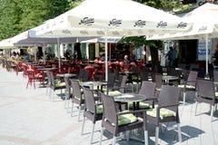 Terrassen in Novi Sad Servië Stock Afbeeldingen