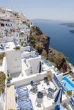 Terrassen van Santorini Stock Foto