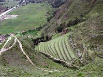 Terrassen van vallei Urubamba. Onder Machu Picchu in Peru Royalty-vrije Stock Afbeelding