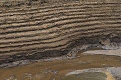 Terrasserad jord vid floden Royaltyfri Fotografi