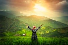 Terrasserad risfält av Mu Cang Chai Fotografering för Bildbyråer