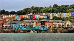 Terrasserat inhysa området i Bristol stadshamn i England Fotografering för Bildbyråer