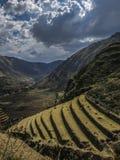 Terrasses agricoles dans la vallée sacrée des Inca, Pérou Image libre de droits