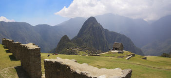 Terrasses d'herbe de Machu Picchu Photos stock