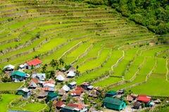 Terrasses de riz aux Philippines Le village est dans un AMO de vallée Photographie stock