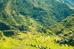 Terrasses de riz aux Philippines Le village est dans un AMO de vallée Image stock