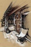 Terrasshus i Provence Teckning Royaltyfri Fotografi