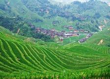 Terrasvormig gebied en dorp stock fotografie
