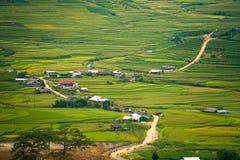 Terrasvormig padieveld in Mu Cang Chai, Vietnam stock afbeeldingen