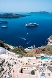 Terrasvormige flats in Fira, Santorini, Cycladen, Griekenland Royalty-vrije Stock Foto