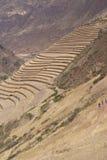 Terrasvormige gebieden Inca en ruïnes van dorp Royalty-vrije Stock Fotografie