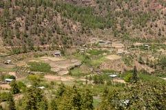 Terrasvormige Landbouwbedrijven in Paro, Bhutan Stock Foto's