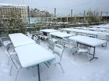 Terraza bajo la nieve Imagen de archivo libre de regalías