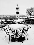 Terraza bajo la nieve foto de archivo libre de regalías