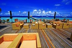 Terraza de la barra en Maldivas Foto de archivo