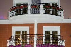 Terraza de la detalle-ventana del hotel Fotos de archivo libres de regalías