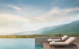 Terraza de la piscina con imagen de la representación del Mountain View 3d Imagenes de archivo