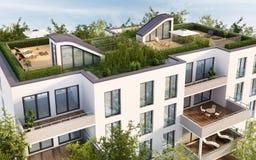 Terraza del tejado de la construcción de viviendas moderna ilustración del vector