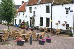 Terraza en la ciudad de la fortaleza de Naarden, Países Bajos Fotografía de archivo