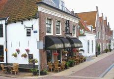 Terraza en la ciudad de la fortaleza de Naarden, Países Bajos Imagen de archivo libre de regalías