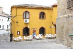 Terraza escénica en el centro de ciudad de Oropesa, España Imágenes de archivo libres de regalías