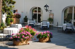 Terraza exterior del restaurante Foto de archivo libre de regalías