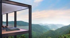 Terraza moderna de la casa de la estructura de acero con imagen de la representación del Mountain View 3d Fotos de archivo libres de regalías