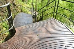 Terraza y abajo escaleras con la cerca Fotografía de archivo libre de regalías