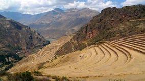 Terrazas agrícolas históricas en Perú Imágenes de archivo libres de regalías