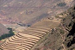 Terrazas agrícolas Incan en Pisac Imágenes de archivo libres de regalías