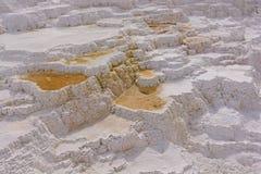 Terrazas de la piedra caliza en aguas termales Imagen de archivo