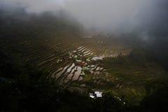Terrazas del arroz de Batad en un día nublado Imágenes de archivo libres de regalías