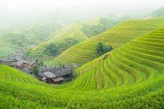 Terrazas del arroz y pueblo tradicional Imagen de archivo libre de regalías