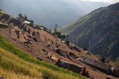 Terrazas del campo del arroz en Nepal central imagenes de archivo