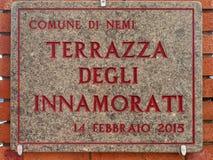Terrazza degli innamorati translation: Lovers Terrace Plate in Stock Photo