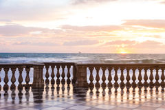The Terrazza Mascagni is a belvedere in Leghorn, Italy. The Terrazza Mascagni is a wide sinuous, suggestive belvedere toward the sea in Leghorn, Italy Stock Image