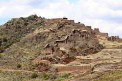 Terrazzi agricoli antichi della valle sacra di Pisac nel Perù Fotografie Stock