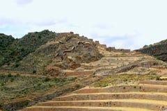 Terrazzi agricoli antichi della valle sacra di Pisac nel Perù Immagini Stock Libere da Diritti