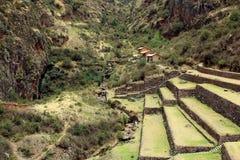 Terrazzi agricoli antichi della valle sacra di Pisac nel Perù Immagine Stock