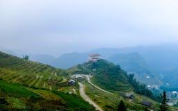 Terrazzi del riso sulla montagna nella città di Sapa Fotografia Stock Libera da Diritti