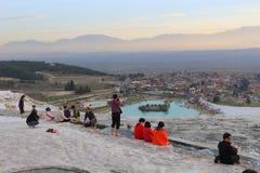 Terrazzi del travertino a Pamukkale immagine stock libera da diritti