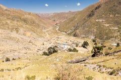 Terrazzi di agricoltura della strada delle montagne del villaggio della Bolivia Immagini Stock