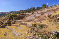 Terrazzi di agricoltura a He sito Perù di Chinchero Fotografie Stock Libere da Diritti