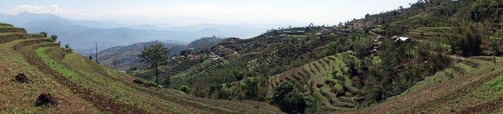 Terrazzi e villaggio in montagna fotografia stock