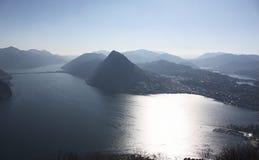 从Terrazzina Monte Bré,提契诺州,瑞士的看法 免版税库存图片
