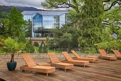 Terrazzo all'aperto in hotel, Montreux, Svizzera Immagini Stock